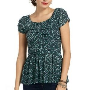 Anthropologie Postmark Polka Dot Ruched Peplum Top
